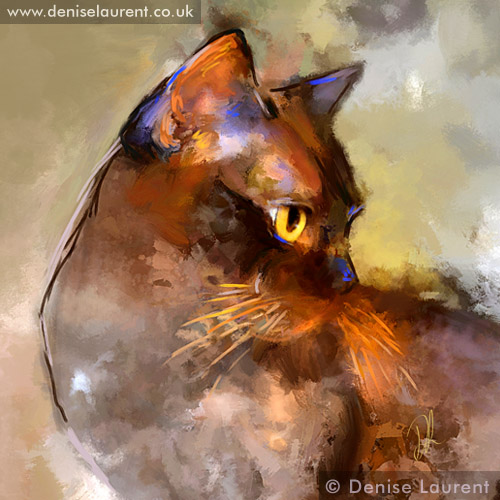 Denise Laurent is an animal portrait artist, specializing in feline portraiture.