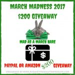 March Madness Giveaway – PayPal Cash or Amazon GC, ends 3/15