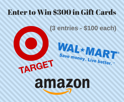 Enter to win $300 in Gift Cards from Target, Walmart, and Amazon. Giveaway ends 5/2.