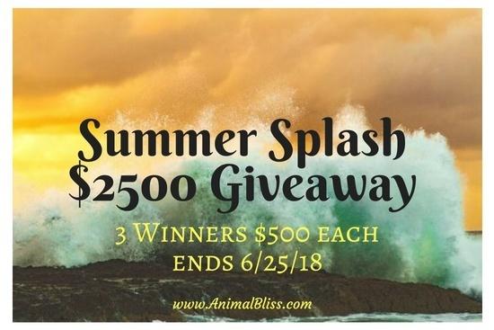 Summer Splash $2500 Giveaway, 3 Winners $500 ea, ends 6/25/18